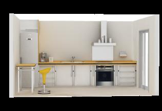 Vista lateral de Cocina