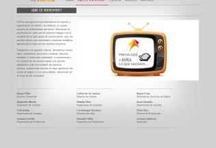Página de información corporativa de Antena 3 Eventos
