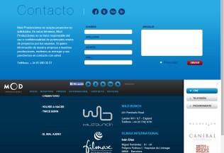 Sección contacto e Internacional de Mod Producciones